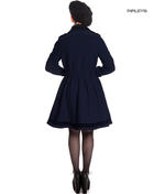 Hell Bunny 50s Vintage Rockabilly Winter Coat MILLIE Navy Dark Blue Thumbnail 3